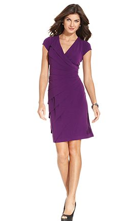 London Times Dress  Cap Sleeve Tiered   Womens Dresses   Macy s