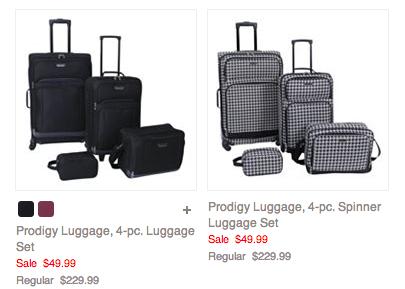 Prodigy Luggage, 4,pc. Spinner Luggage Set just $42.49!! Reg