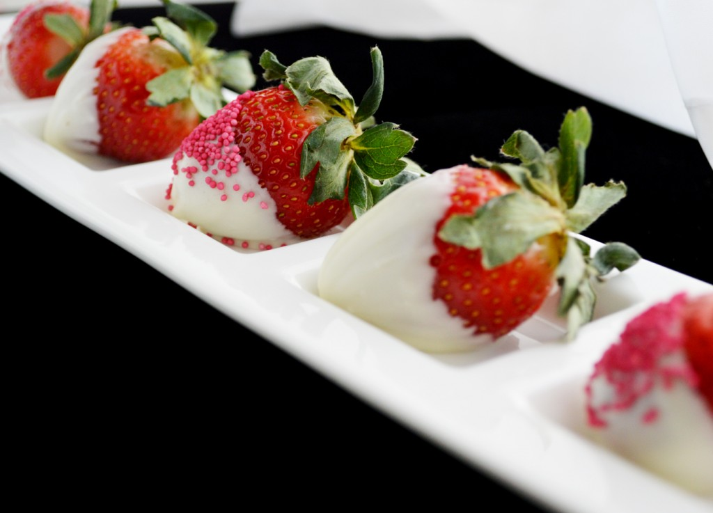 White Chocolate and Pink Nonpareil Dipped Strawberries