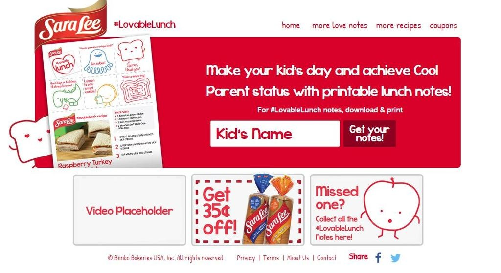 Lovable Lunch Homepage