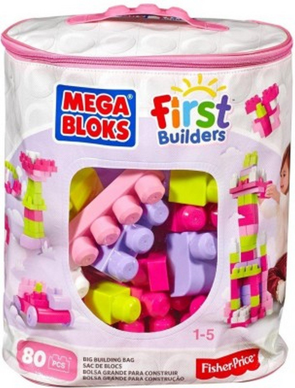 Pink Mega Bloks Big Building Bag 80 Piece