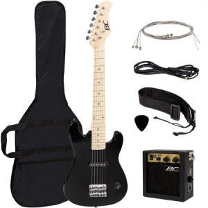electric guitar kids 30 black guitar with amp case strap reg wheel n. Black Bedroom Furniture Sets. Home Design Ideas