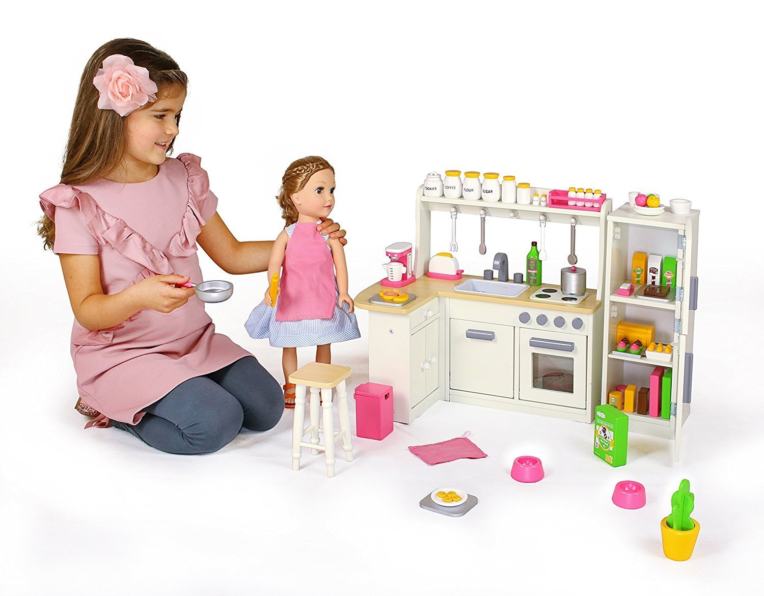 doll kitchen set w refrigerator and accessories shipped wheel n deal mama. Black Bedroom Furniture Sets. Home Design Ideas